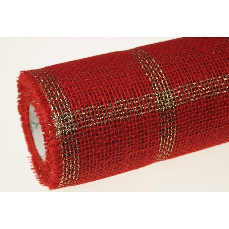 Tkanina jutowa - 50 cm x 5 m | Kolor czerwony w kratkę