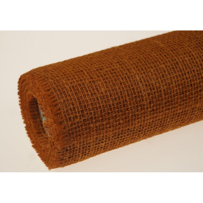 Tkanina jutowa - 50 cm x 5 m | Kolor pomarańczowy ciemny