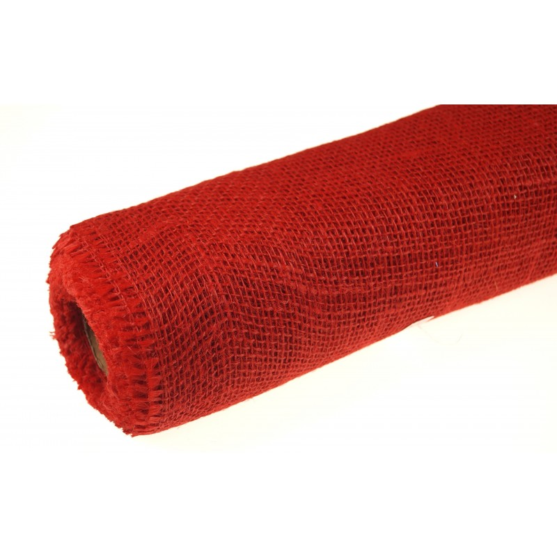 Tkanina jutowa - 80 cm x 5 m | Kolor czerwony