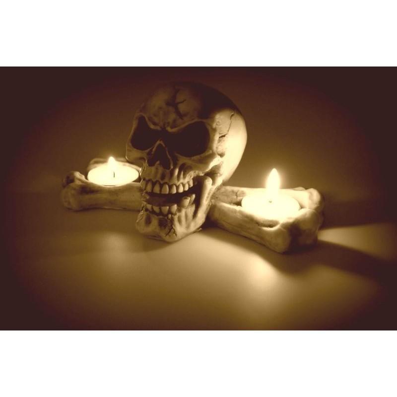 Czaszka na 2 świeczki T-LIGHT