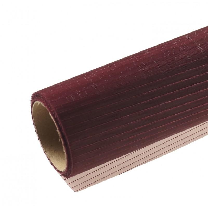 Organza w prążki 36 cm x 4,5 m | Kolor bordowy