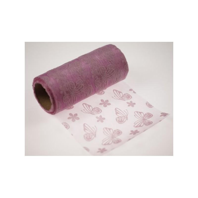 Organza tłoczona 12 cm x 9 m   Kolor różowy