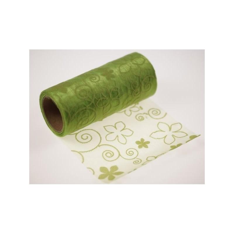 Organza tłoczona 12 cm x 9 m | Kolor zielony