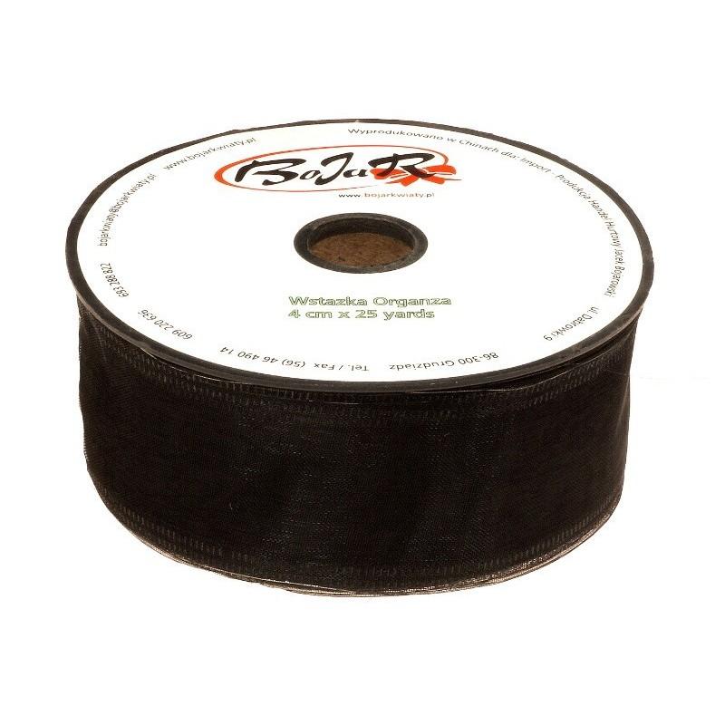 Organza wstążka - 4 cm x 25 m | 5151 - Czarny