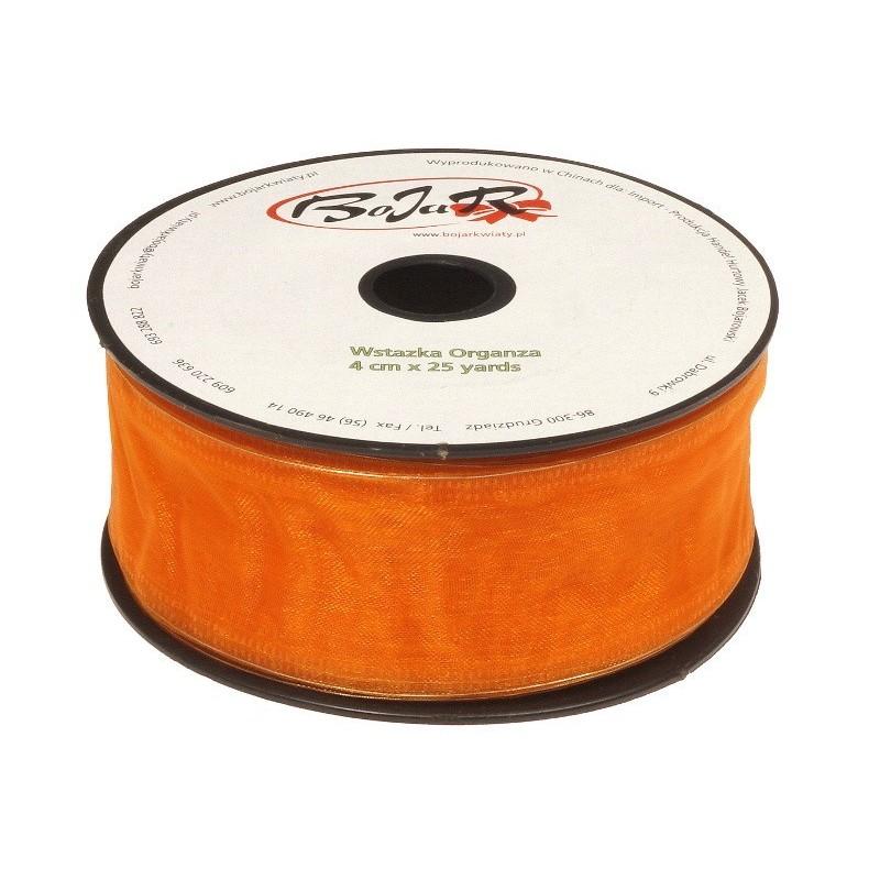 Organza wstążka - 4 cm x 25 m | 5054 - Pomarańczowy