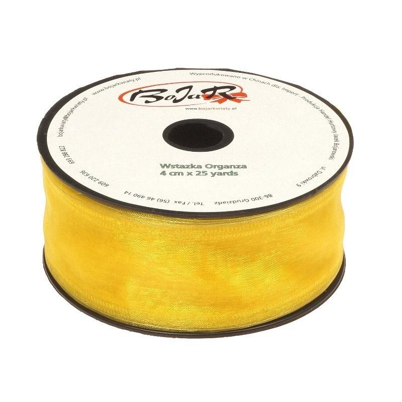 Organza wstążka - 4 cm x 25 m | 5034 - Żółty