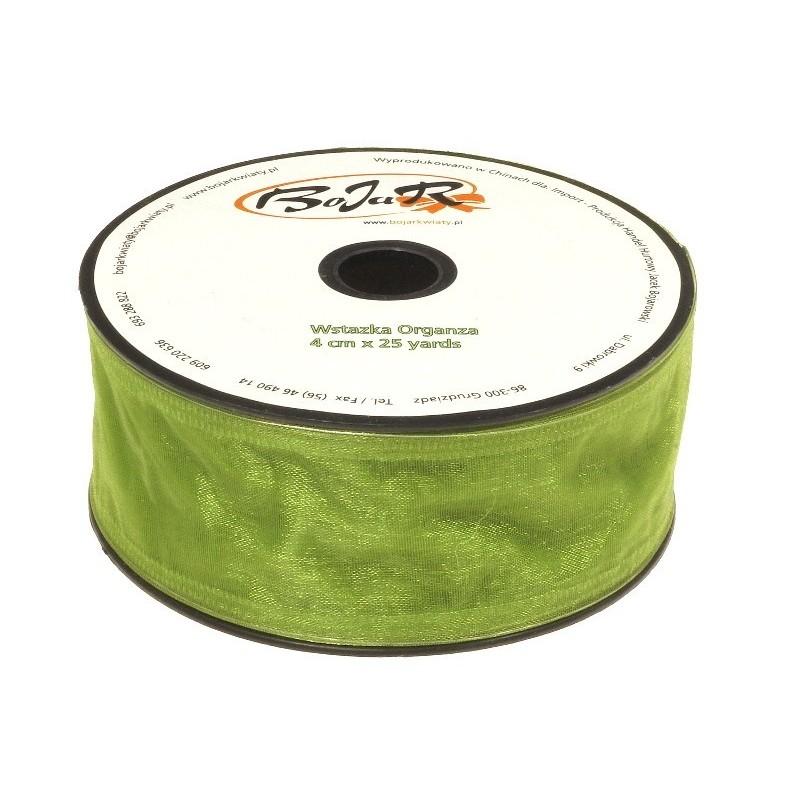 Organza wstążka - 4 cm x 25 m | 5072 - Zielony