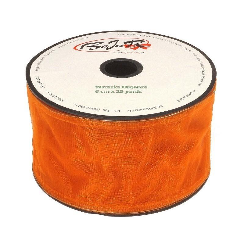 Organza wstążka - 6 cm x 25 m - pomarańczowy