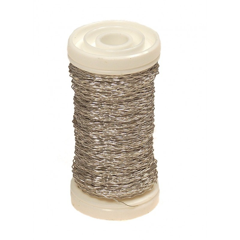 Drucik florystyczny karbowany - srebrny