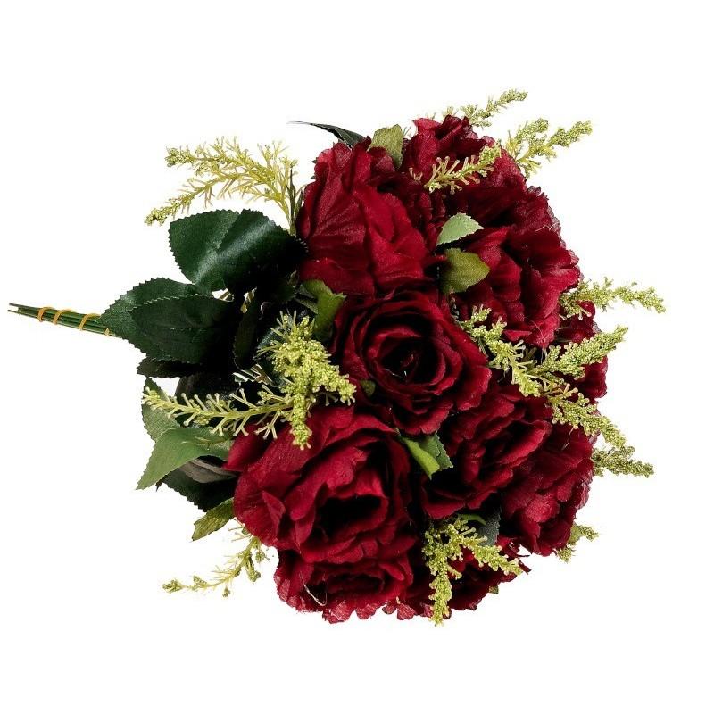 Róża z łodygą - bordowa (12szt.)