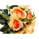 Róża z łodygą - pomarańczowo - ecrue (12 szt.)
