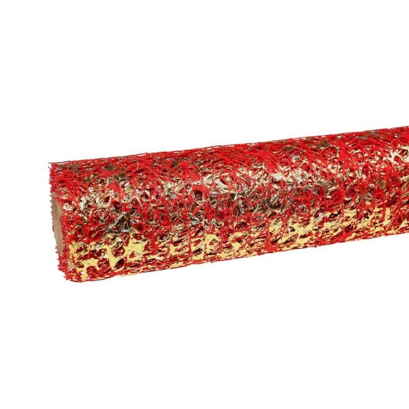 Siatka koronkowa z folia - czerwona