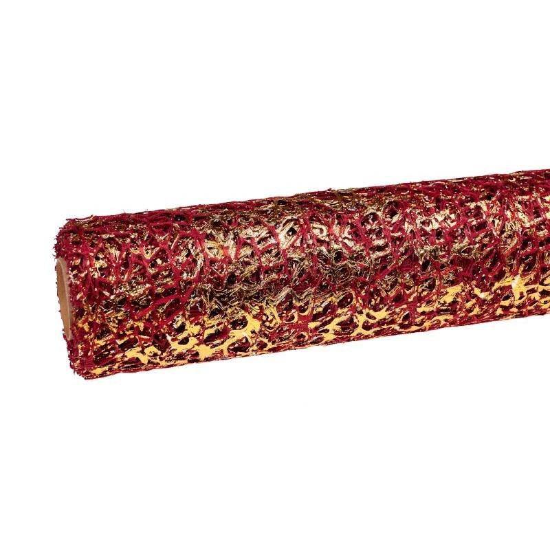 Siatka koronkowa z folia - bordowa