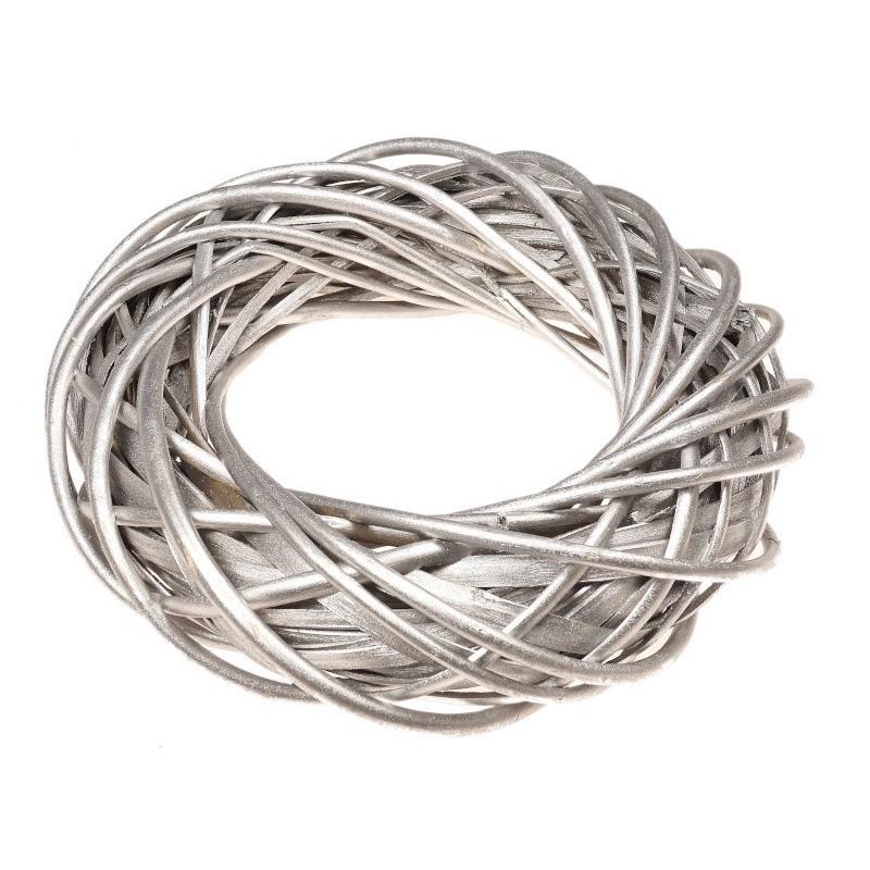 Wianek wiklinowy 25 cm - srebrny