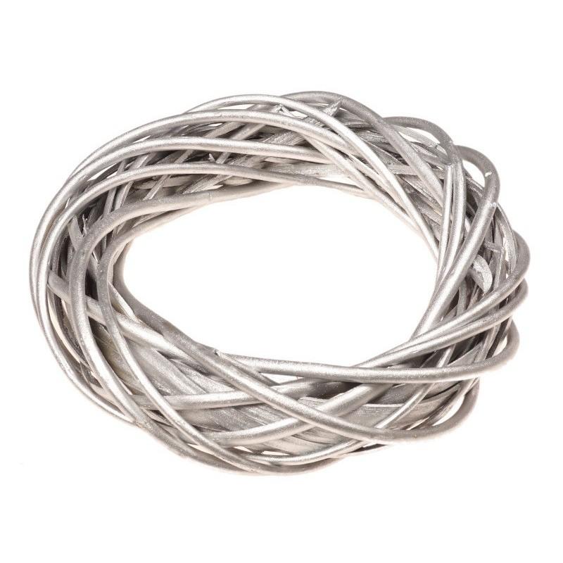 Wianek wiklinowy 40 cm - srebrny