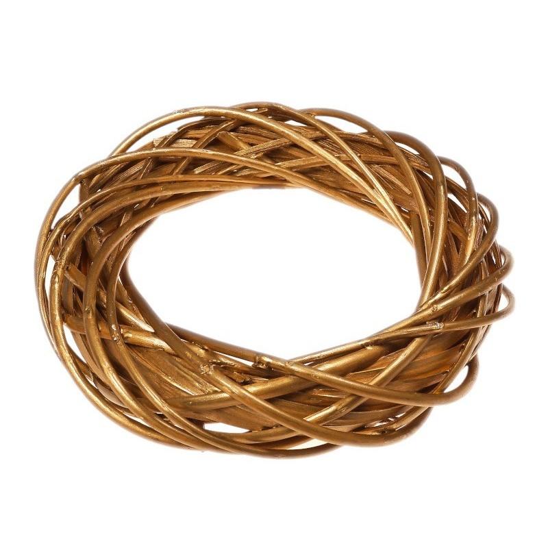 Wianek wiklinowy 30 cm - złoty