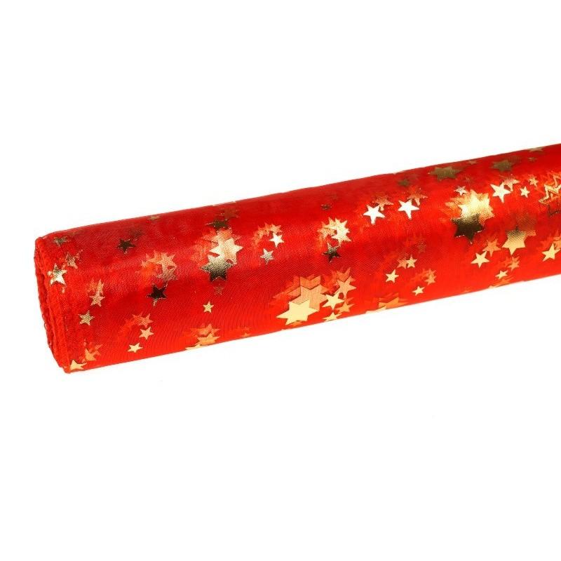Organza świąteczna w gwiazdki 36cm x 9m - czerwona