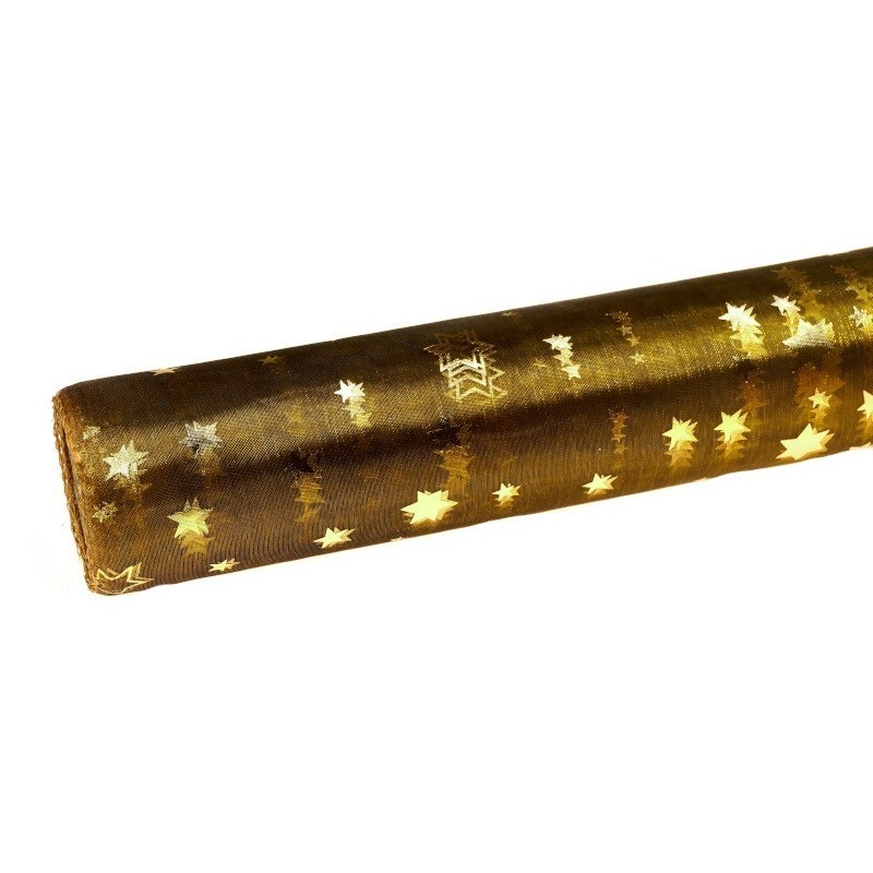 Organza świąteczna w gwiazdki 36cm x 9m - oliwkowa