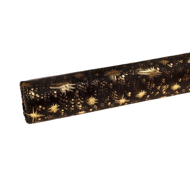 Organza świąteczna w gwiazdki 40cm x 5m - czarna