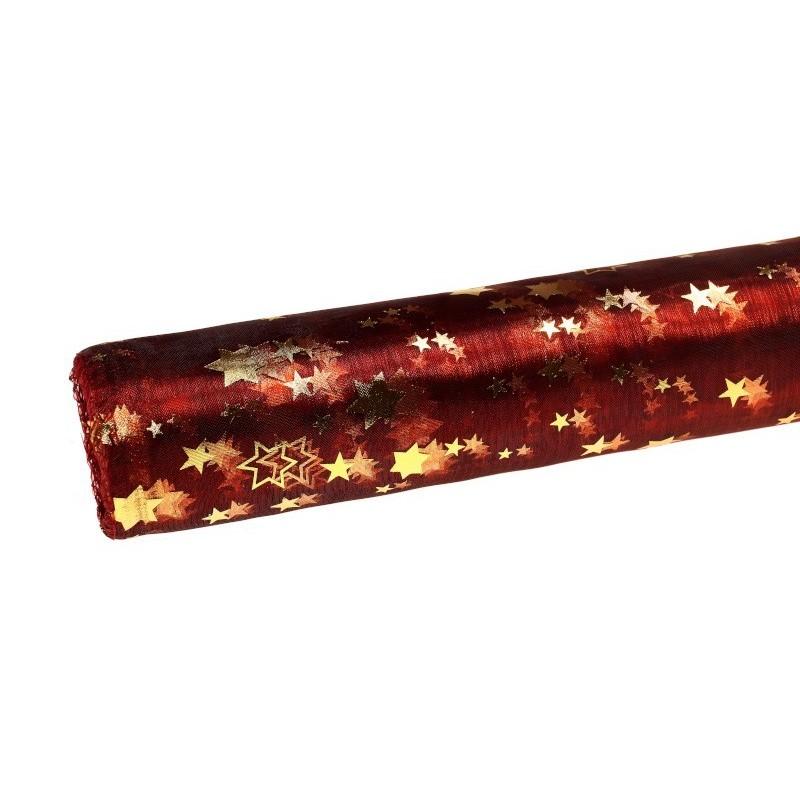 Organza świąteczna w gwiazdki 36cm x 9m - bordowa