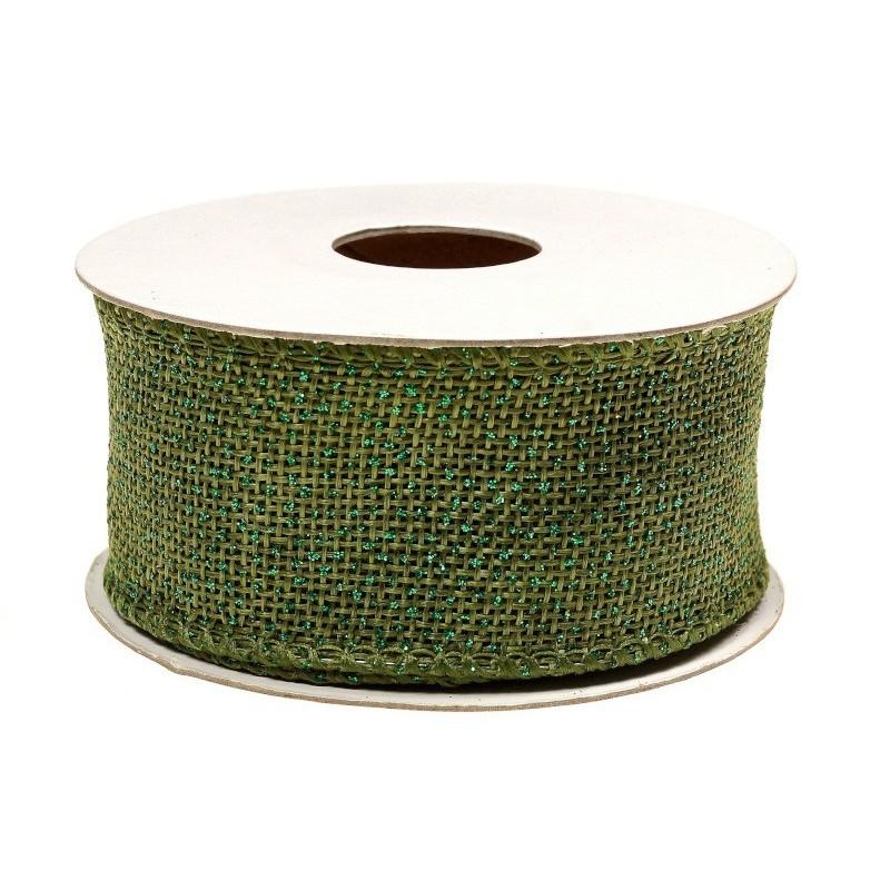 Wstążka jutowa 4 cm x 5 y - zielona