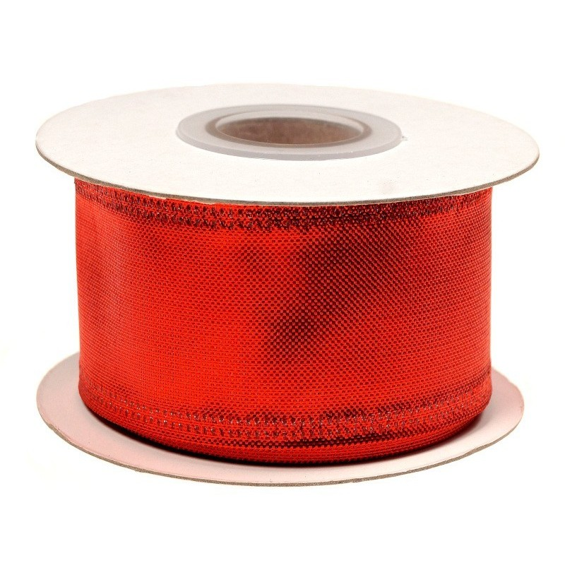 Wstążka metalizowana 3,8 cm x 10 y - czerwona
