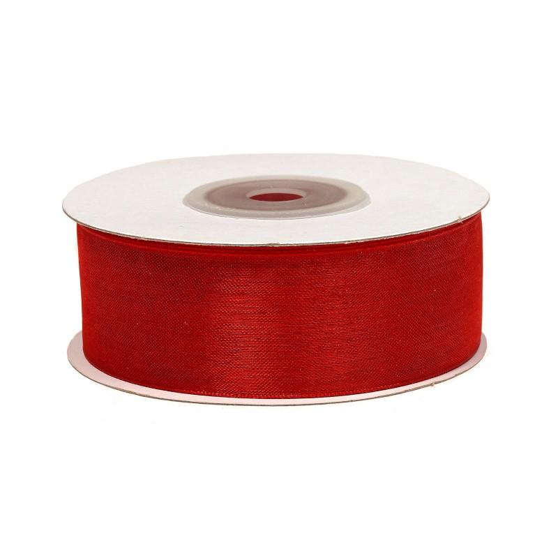 Wstążka szyfonowa 25 mm x 25 y - czerwona