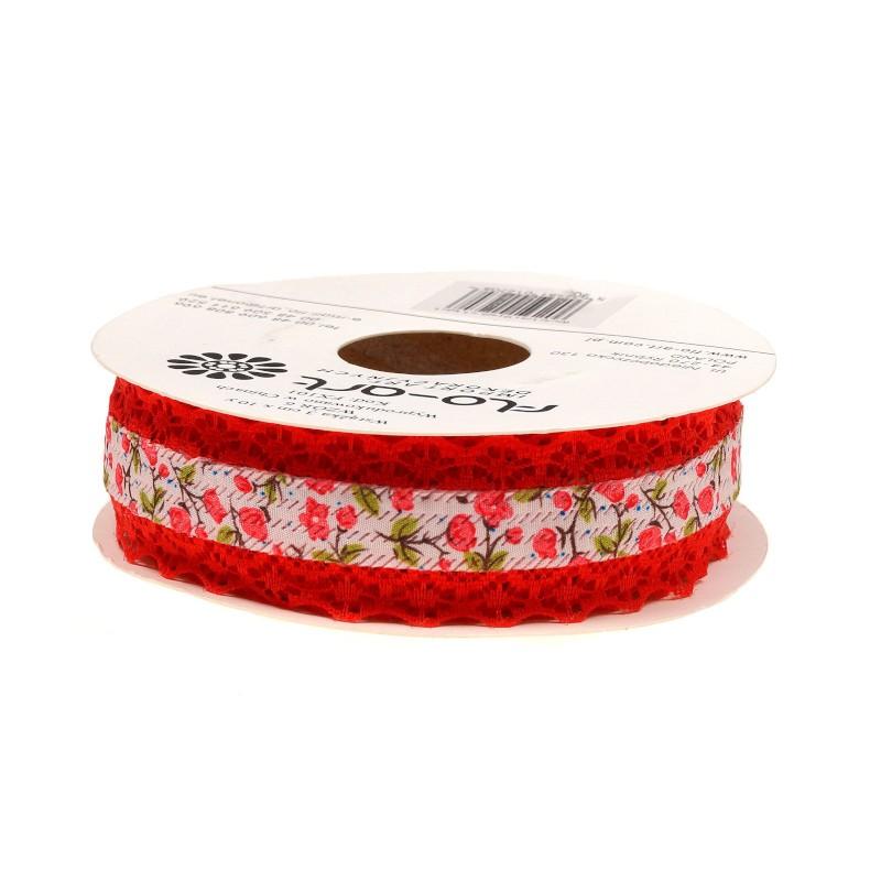 Wstążka koronkowa - czerwona w kwiaty