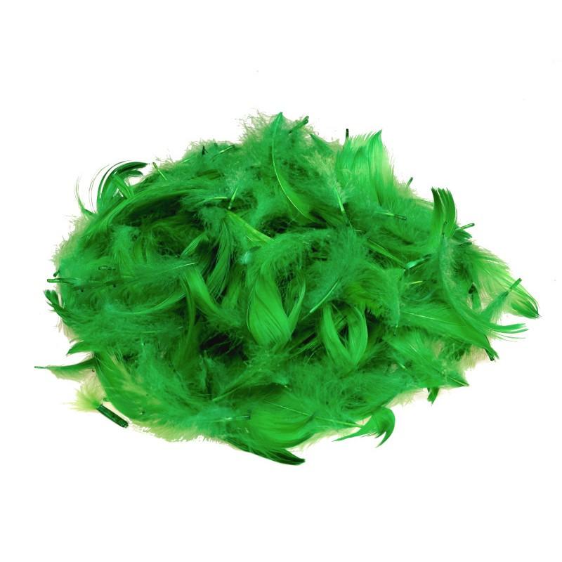 Piórka dekoracyjne zielone 15 g
