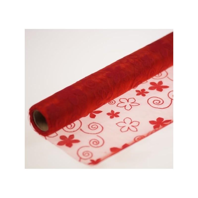 Organza tłoczona 36 cm x 4,5 m | Kolor czerwony