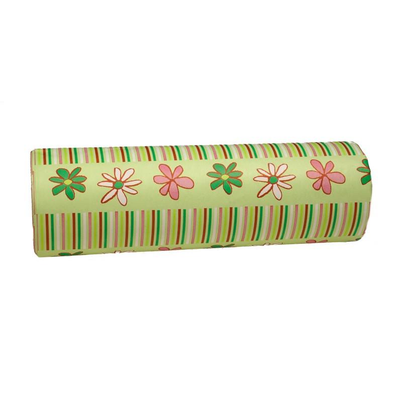 Papier dekoracyjny  25 cm x 20 m - zielony w kwiaty