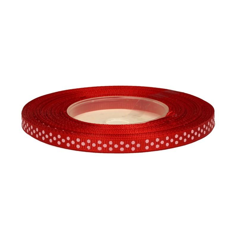 Wstążka ryps w kropki 6 mm x 25 y - czerwona