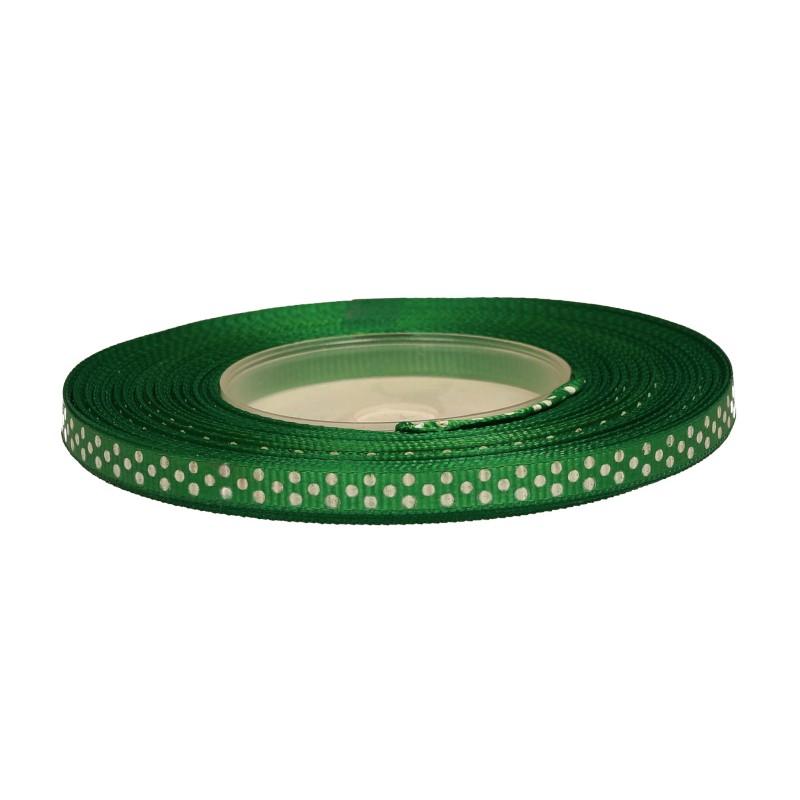 Wstążka ryps w kropki 6 mm x 25 y - ciemno zielona