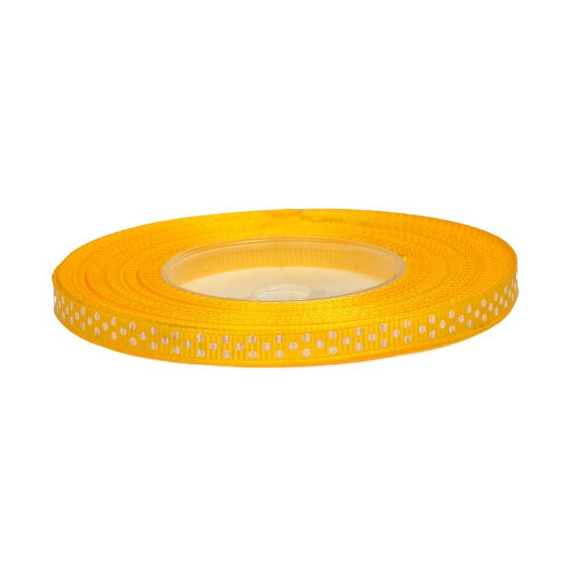 Wstążka ryps w kropki 6 mm x 25 y - żółta 8