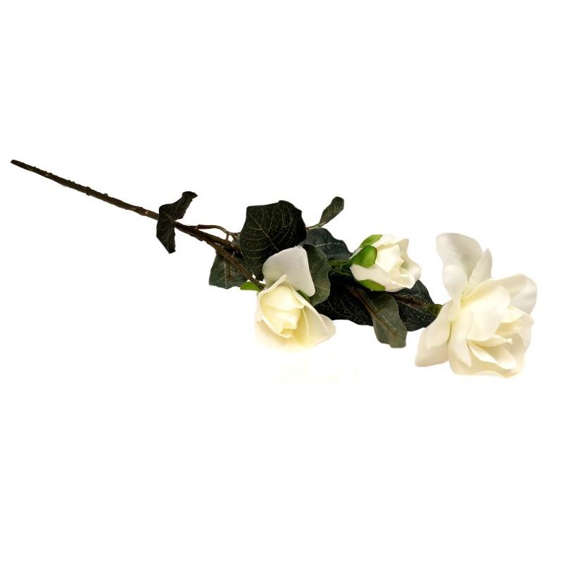 Gałązka róży 60 cm - biała