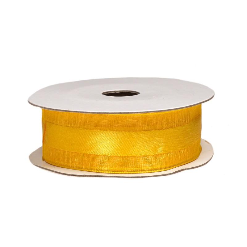 Wstążka z organzy  25 mm x 9 m - żółta
