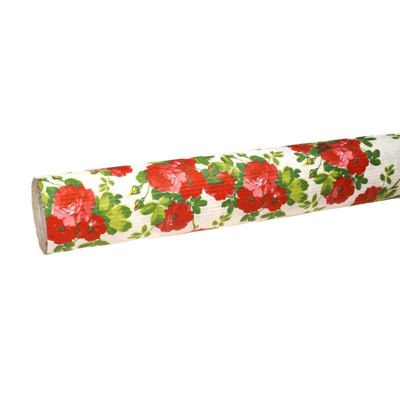 Papier karbowany - czerwone kwiaty