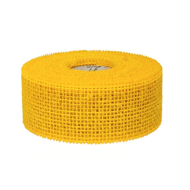 Wstążka jutowa 5 cm x 10 m - żółty