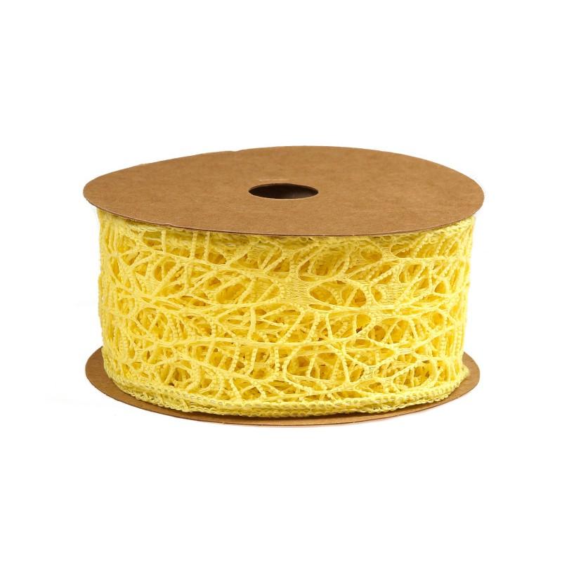 Wstążka koronkowa 5 cm x 9 m - żółta