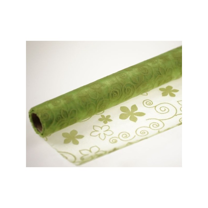 Organza tłoczona 36 cm x 4,5 m | Kolor zielony