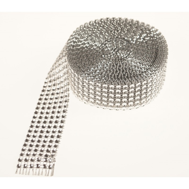 Taśma- wstążka diamentowa 5 y   Srebrny