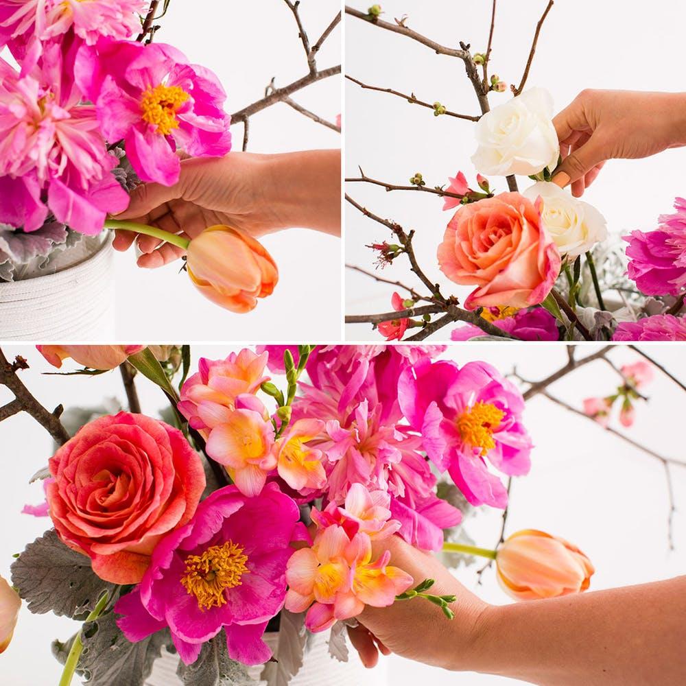jak zrobic dekoracje z kwiatow w gabce florystycznej